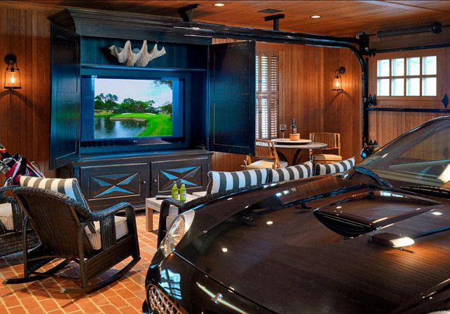 Ultimate Man S Cave Garave Luxury Car And A Big Tv Garage