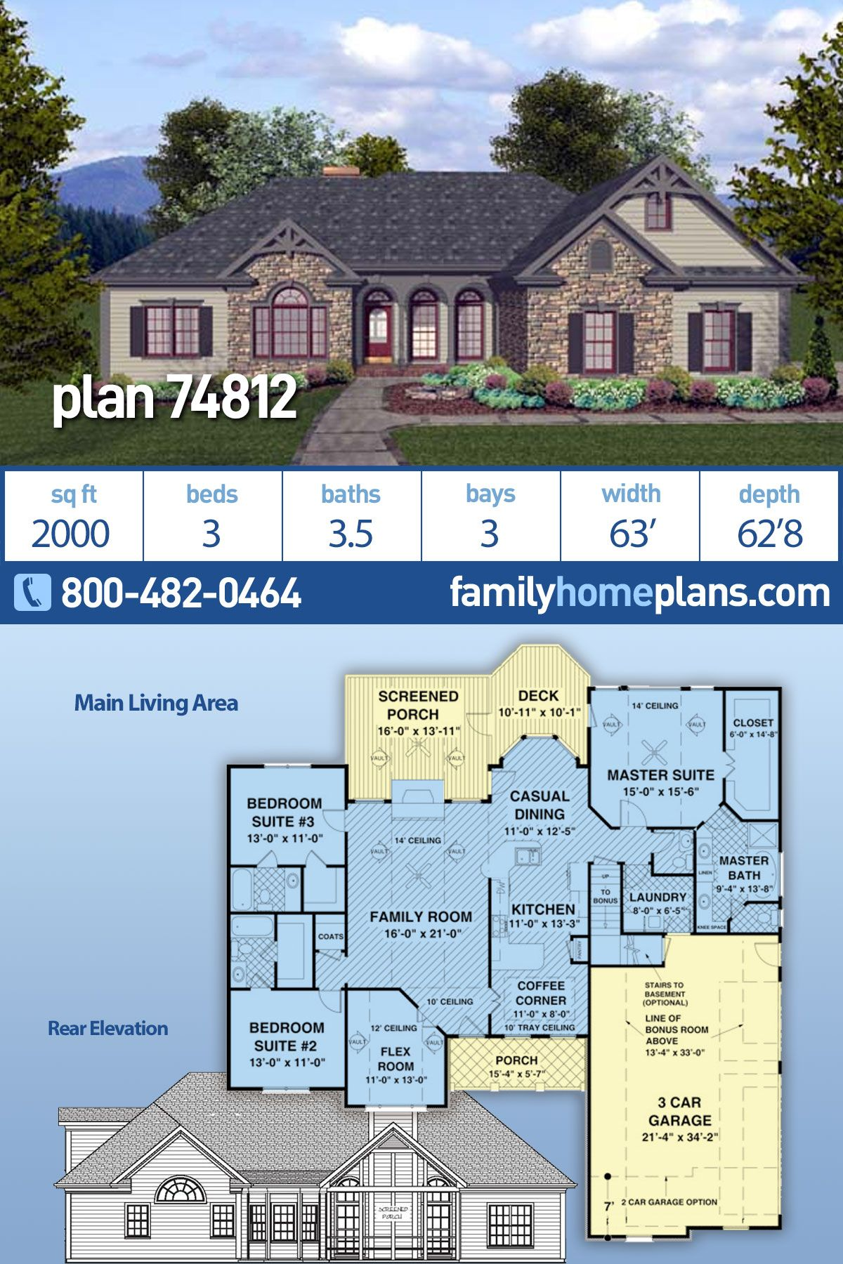 Ranch Style House Plan 74812 With 3 Bed 4 Bath 3 Car Garage Ranch Style House Plans Craftsman House Plans Ranch House Floor Plans