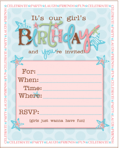 birthday party ideas for girls free printables - Girl Birthday Party Invitations