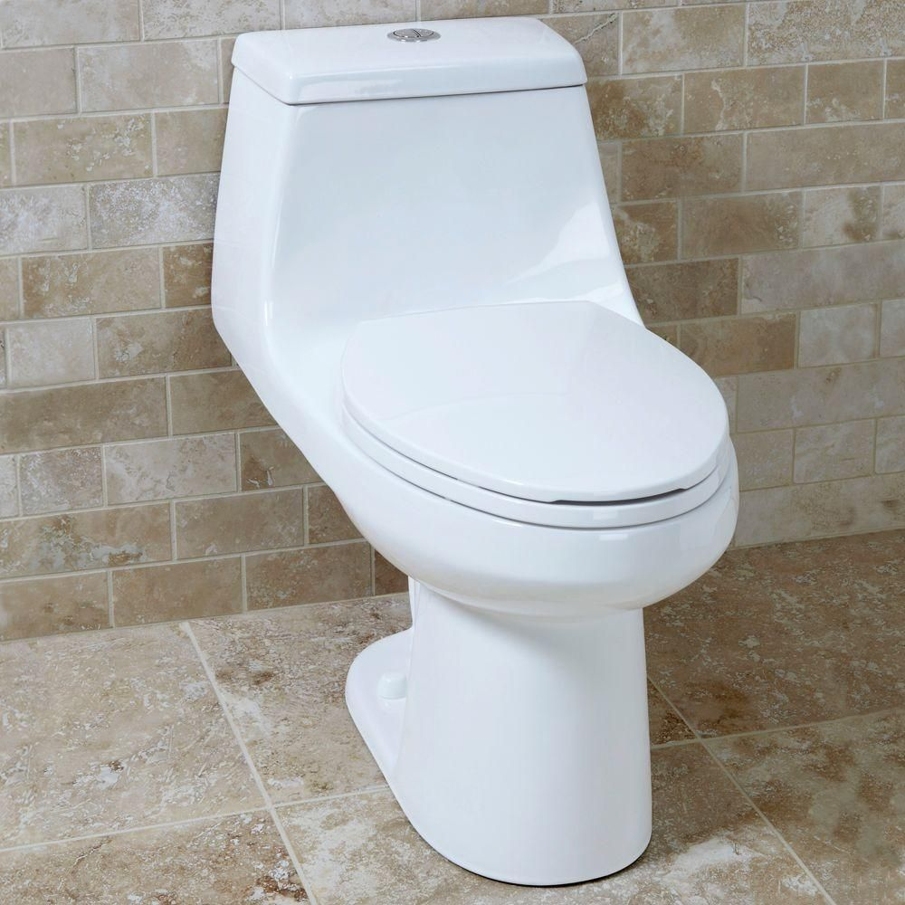 Glacier Bay 1 Piece 1 1 Gpf 1 6 Gpf High Efficiency Dual Flush Elongated All In One Toilet In White N2420 One Piece Toilets Glacier Bay Small Space Bathroom