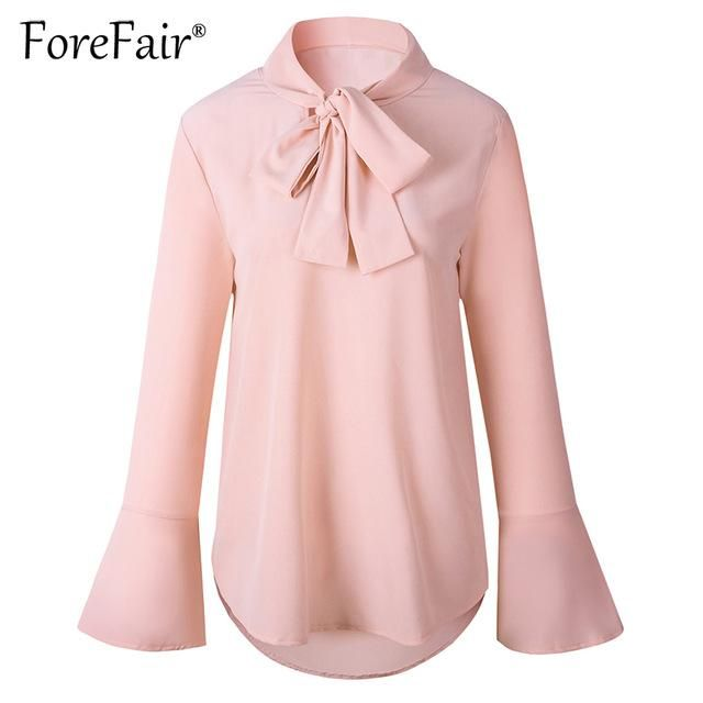 fc2fbae71ea Casual Loose Blouse Women Chiffon Shirt Autumn Bow Tie Neck Flare Long  Sleeve Solid Tops