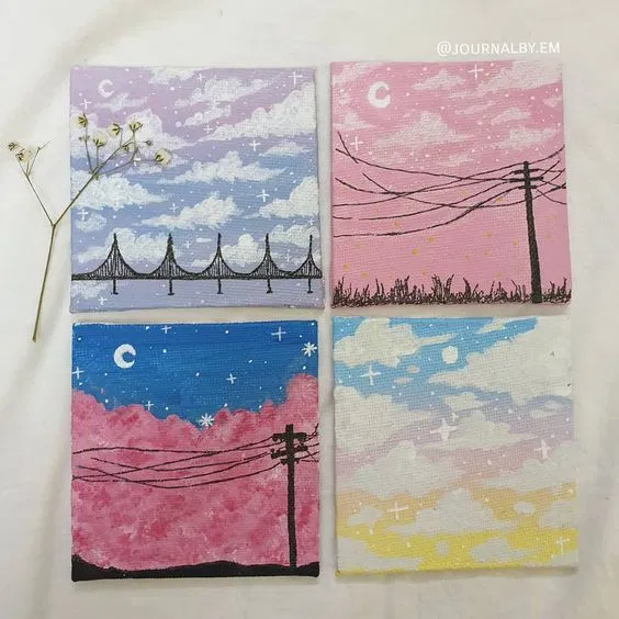 30 Diy Easy Canvas Painting Ideas For Beginners In 2020 Small Canvas Paintings Canvas Drawings Simple Canvas Paintings