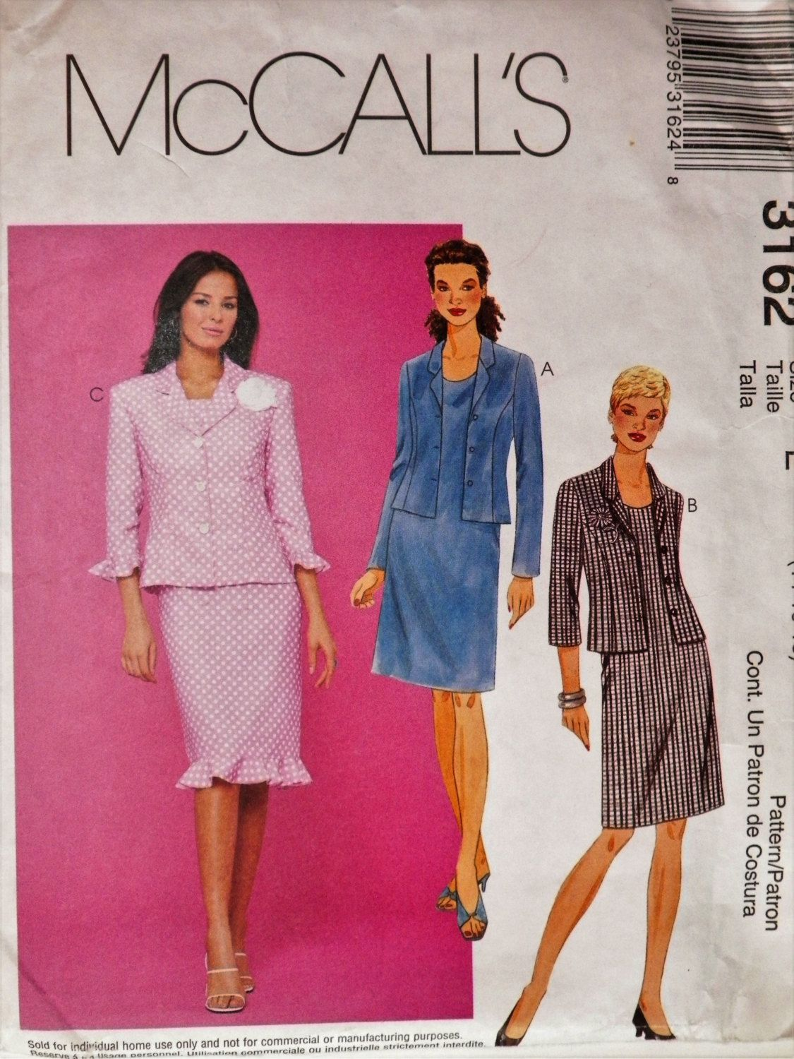 Misses Plus Size Sewing Pattern Sleeveless Dress & Lined Jacket ...