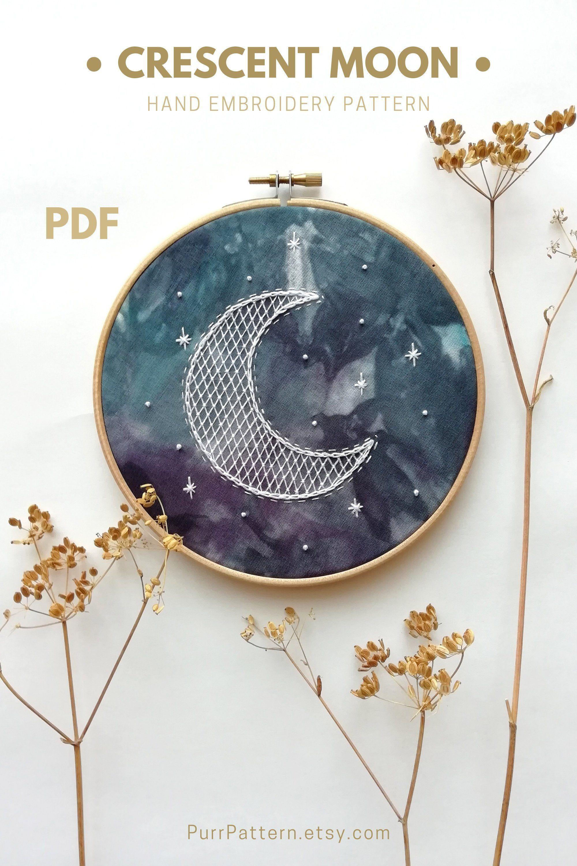Moon /& Star Love Embroidery Design DesignsbyHocane 4 Hoop Sizes
