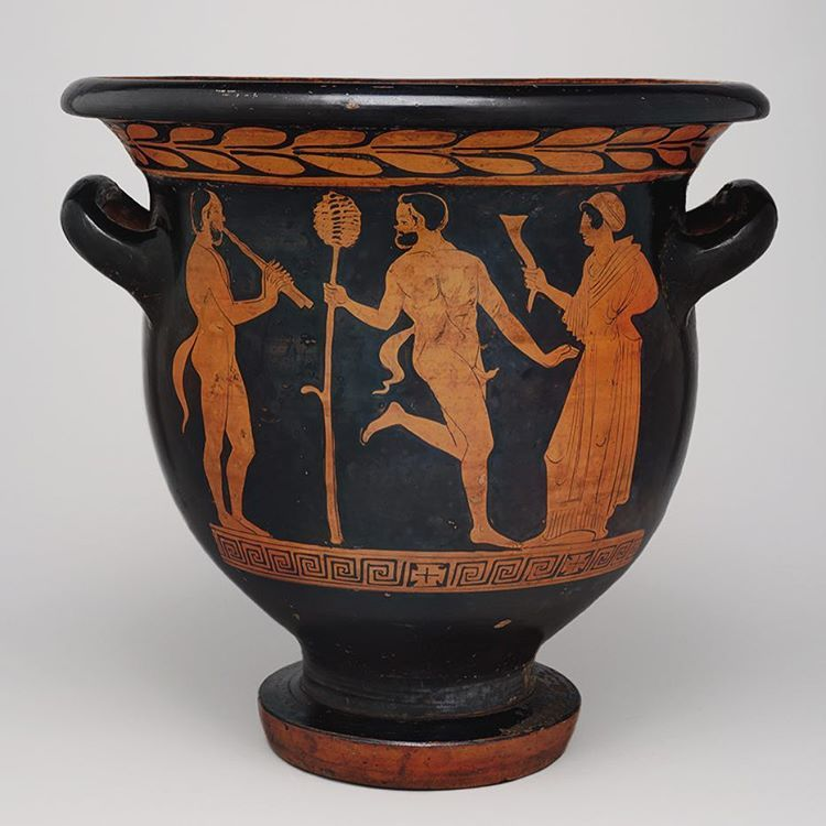 In ancient Greece, large vessels called kraters were used to mix wine with water at banquets or symposia (drinking parties) in aristocratic homes. The host monitored the dilution of the wine, adjusting the ratio of water to wine depending on the degree of inebriation of the guests. The goal was to maintain an inebriated but not overly drunken company.#NationalWineDay 🍷 • Image: Red Figure Bell-Krater. 440-430 BCE. Terracotta. Origin: Lucania, Magna Graecia (present day Italy). Gift of…