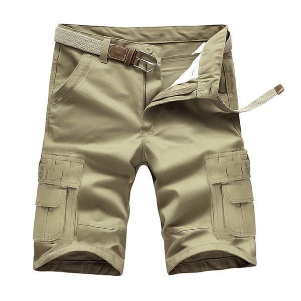 8037eb39c9991 Loose Fit Summer Solid Color Pockets Cargo Shorts For Men  jewelry ...