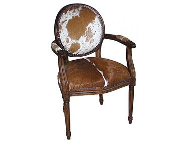 Round Back Cowhide Arm ChairDining Chair IdeasPinterest