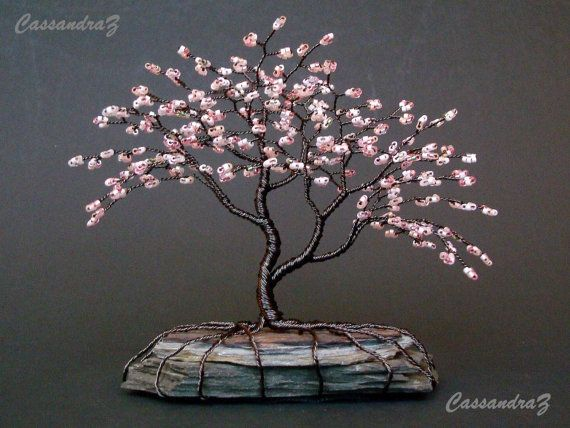 Asymmetrische Kersenbloesem Beaded Bonsai Mini Draad Boom Etsy Arboles De Alambre Escultura Del Arbol Trabajo Con Cables