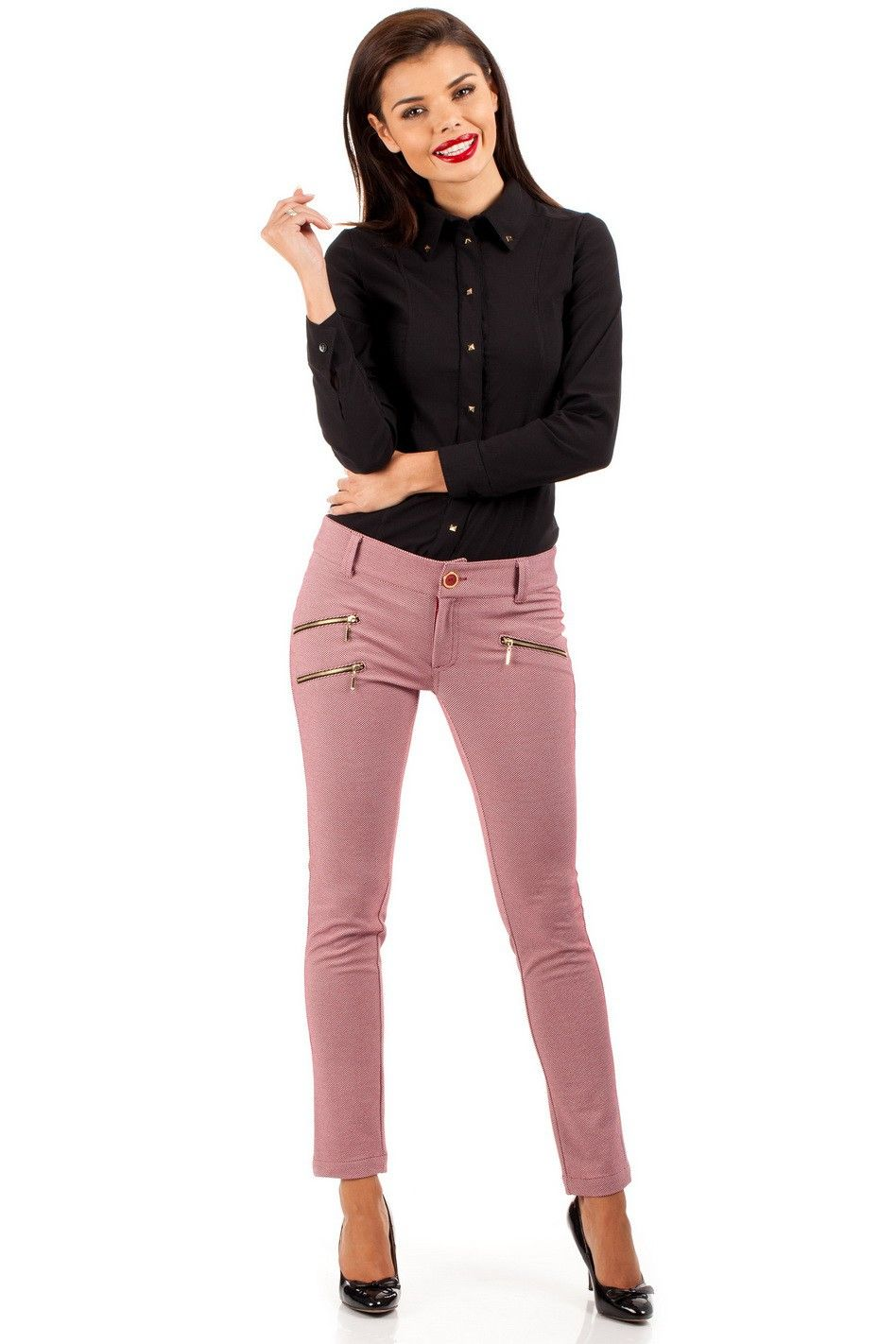 Nohavice MOE 046 ružová - Nohavice - Oblečenie