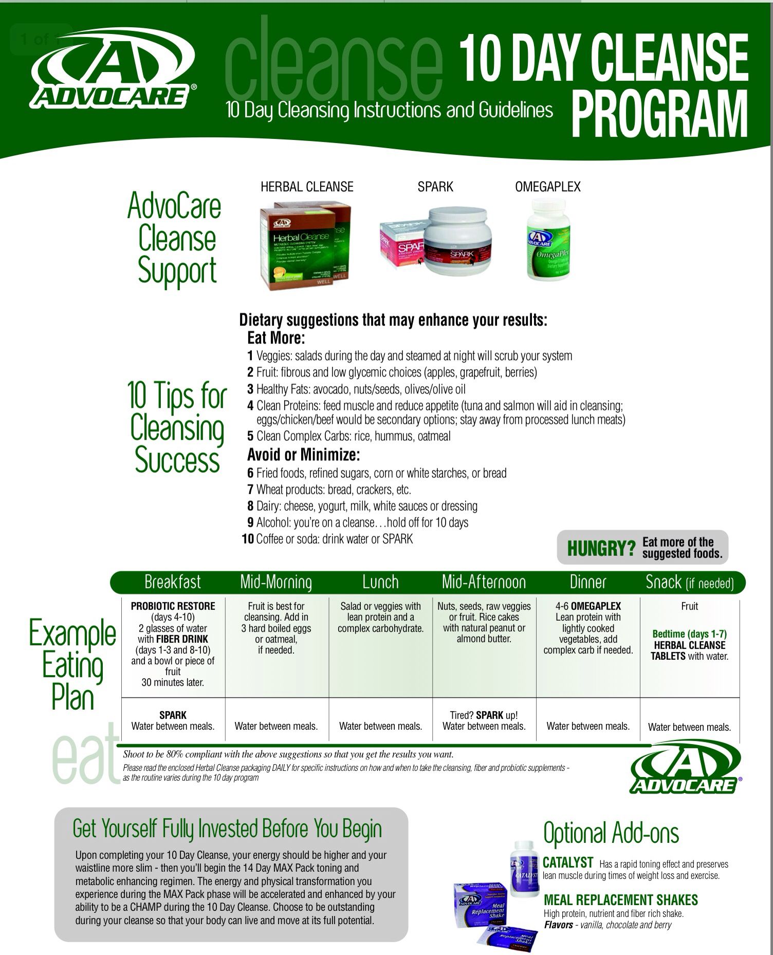 graphic about 24 Day Challenge Printable Guide named 10 Working day clear guidelines Advocare Material within just 2019