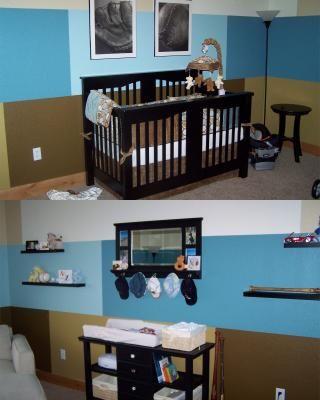 Modern Blue and Brown Baby Boy Baseball Nursery Wall Decorating ...