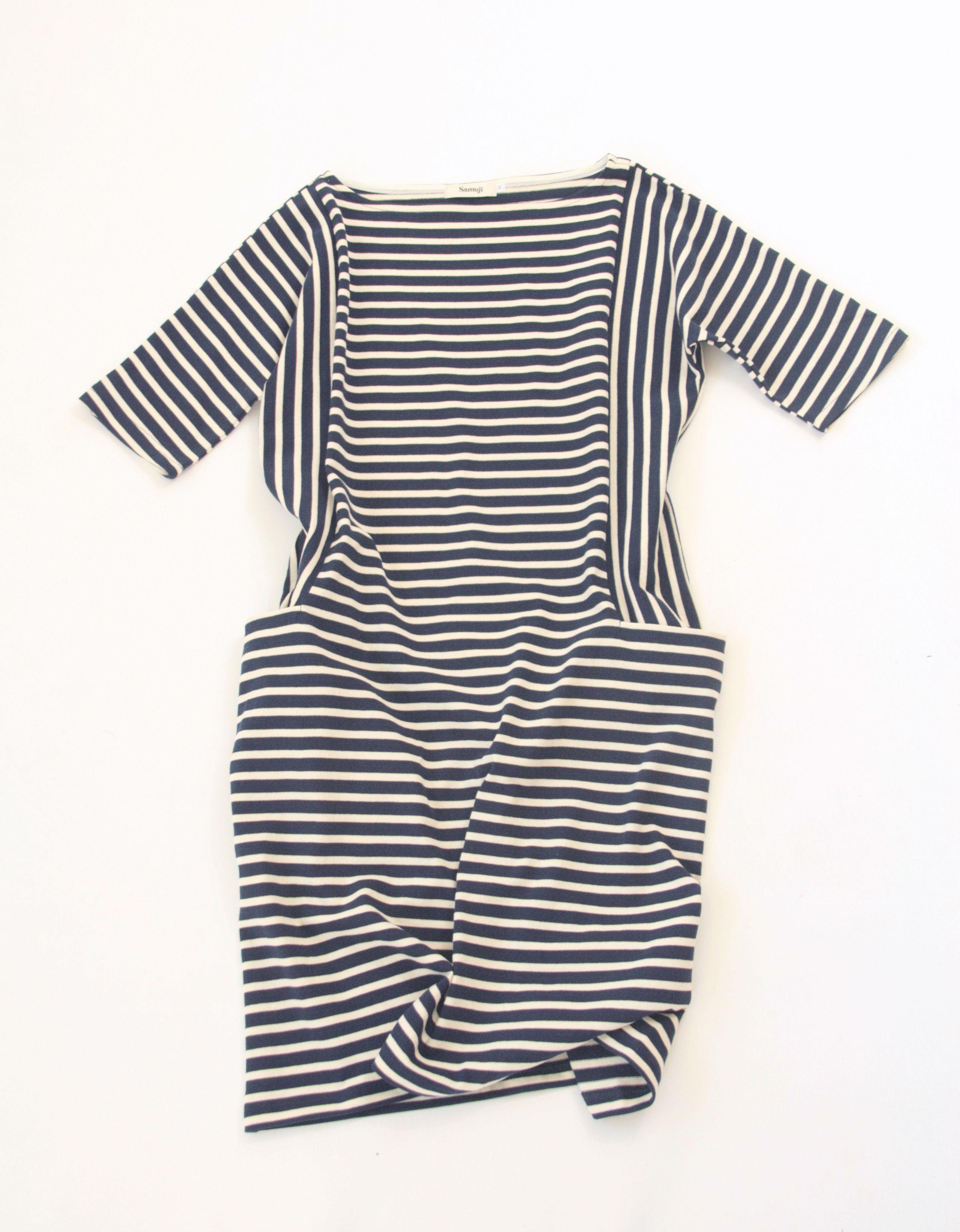 Samuji Rosa Dress in Navy/Ecru stripe