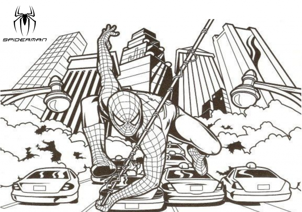 Spider Man Swinging Through The Streets Of New York City Printable Coloring Page Spiderman Coloring Free Coloring Pages Coloring Pages For Kids
