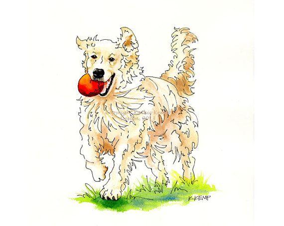 English Cream Golden Retriever Happy Cute Pet Portrait Gift Idea