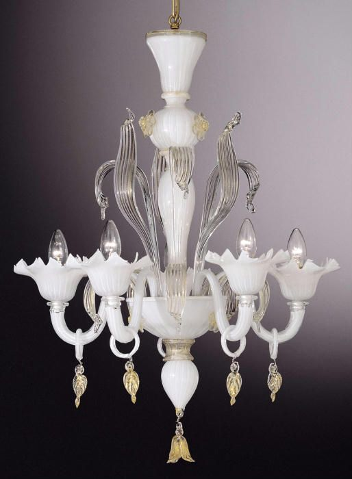Small White Murano Glass Chandelier With Clear Leaves This Lovely Venetian As Nearly All The Chandeliers On Our Site