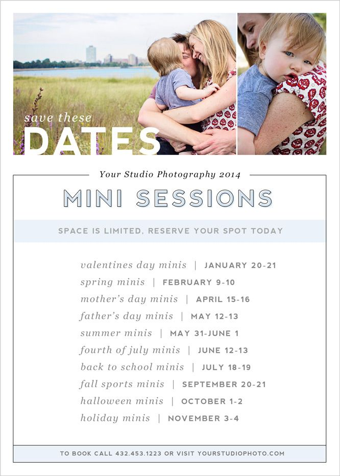 mini session save the date marketing card template for