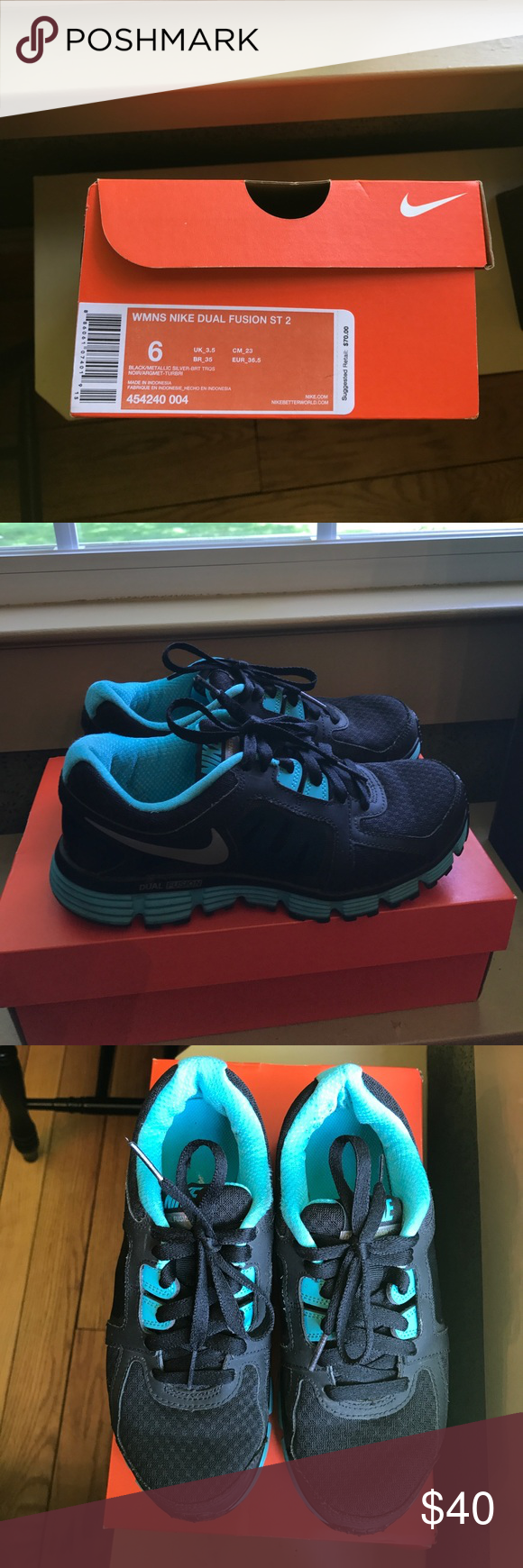 Women s black teal Nike Dual Fusion ST 2 sneakers. Women s Nike Dual Fusion  ST 2 sneakers - black and teal - worn only a few times but good condition 1176bdfb1