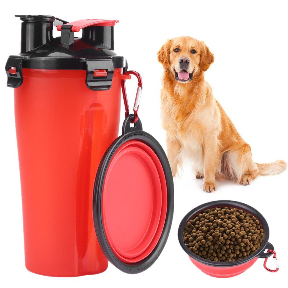 Dog Drinking Water Bottle With Bowl 2 In 1 Portable Pet Food Feeder Container For 250g Snack Food And 350ml Wate