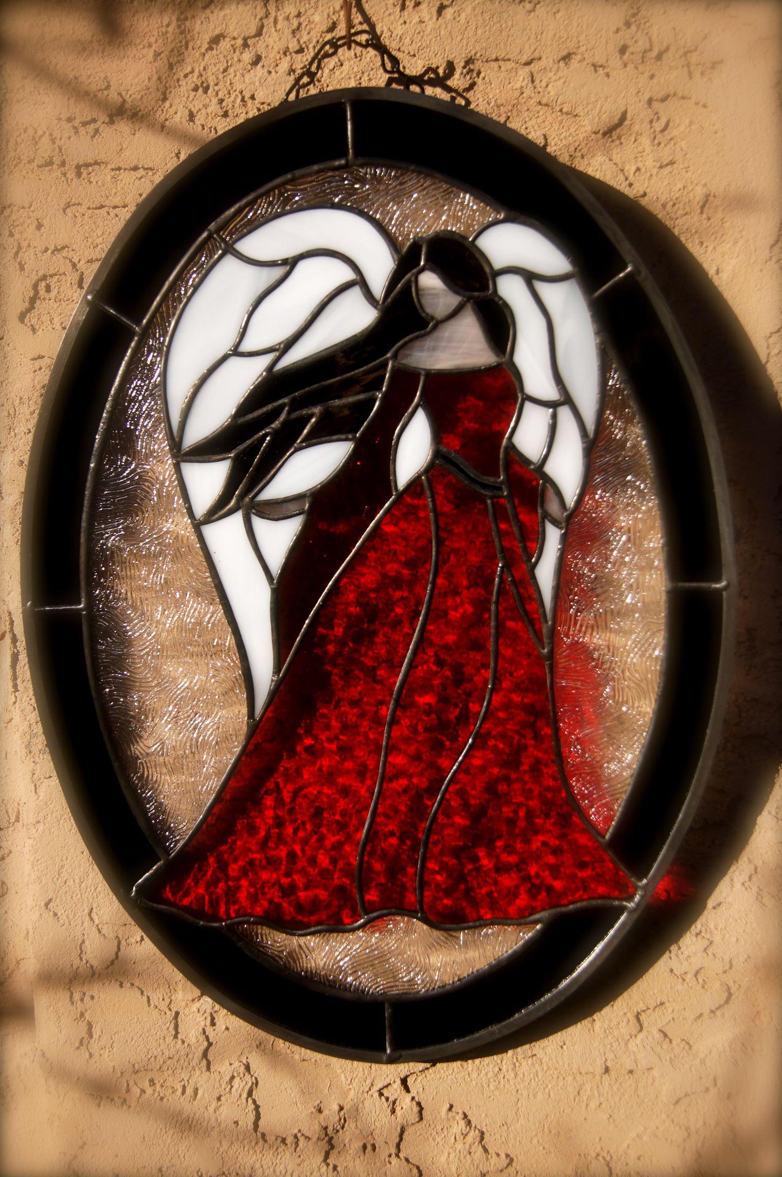 My pretty Crimson Stained Glass Angel. | Mosaic Art & Ideas ...