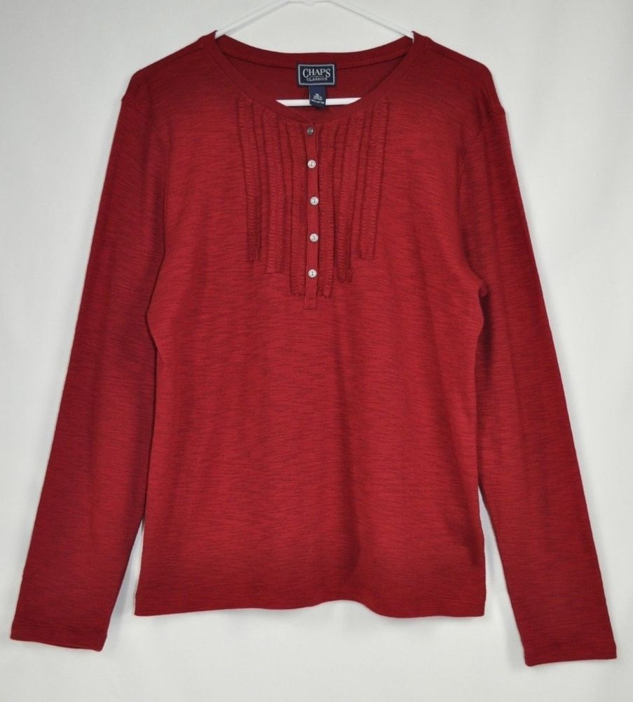 Ralph Lauren CHAPS SIZE XL WOMENS TOP LONG SLEEVE Maroon EUC #Chaps #KnitTop #Casual $10.93