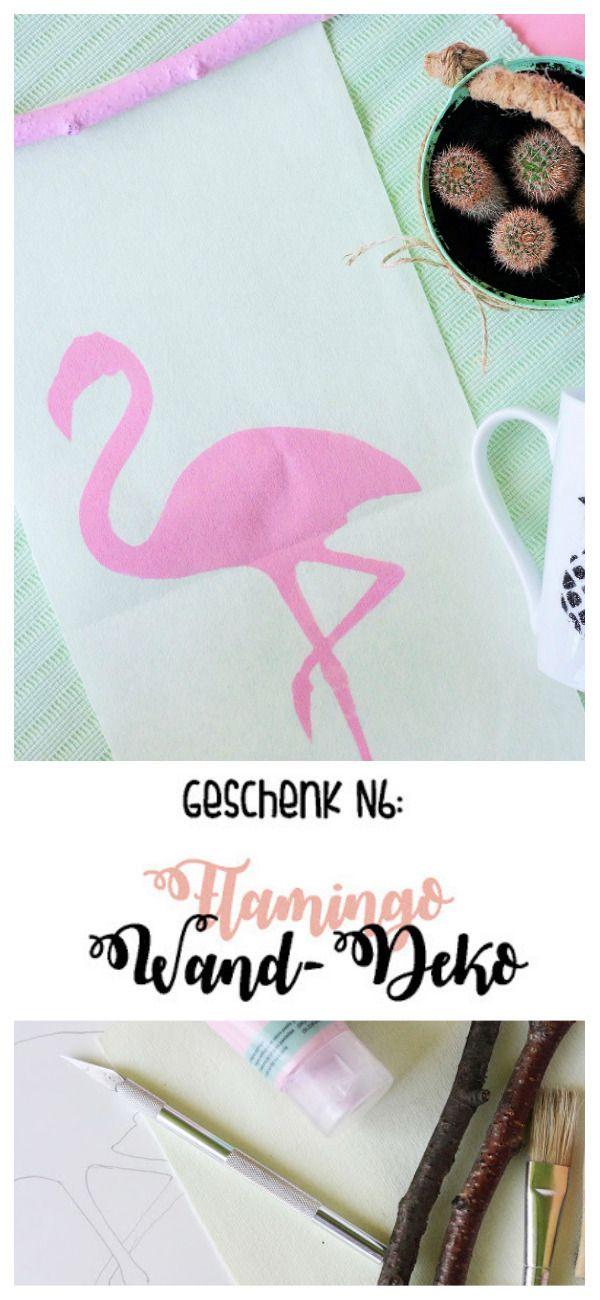 Macht ein DIY-Geschenk - Wanddeko mit einem Flamingo-Motiv! In einer