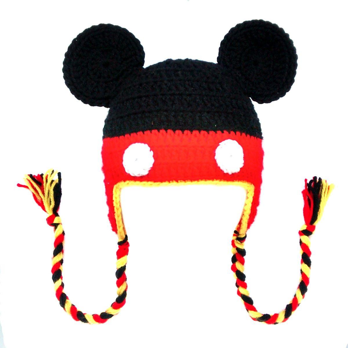 Touca de Crochê Mickey INFANTIL | Koki Ideias em Crochê | Elo7 ...