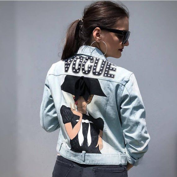5095d6e2a0 Hand painted denim jacket Vogue in 2019