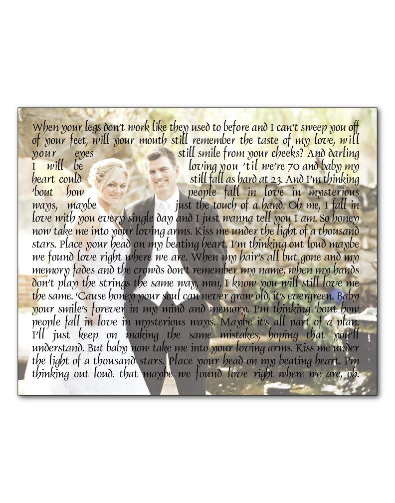 Wedding Photo Print - Any Song Lyrics Wedding Song First Dance Song ...