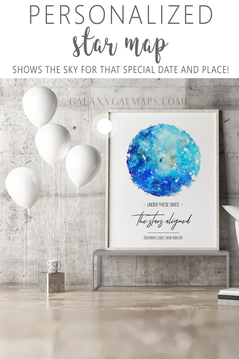 Get Sky Map by Date friendship gift, Star Map Two, State