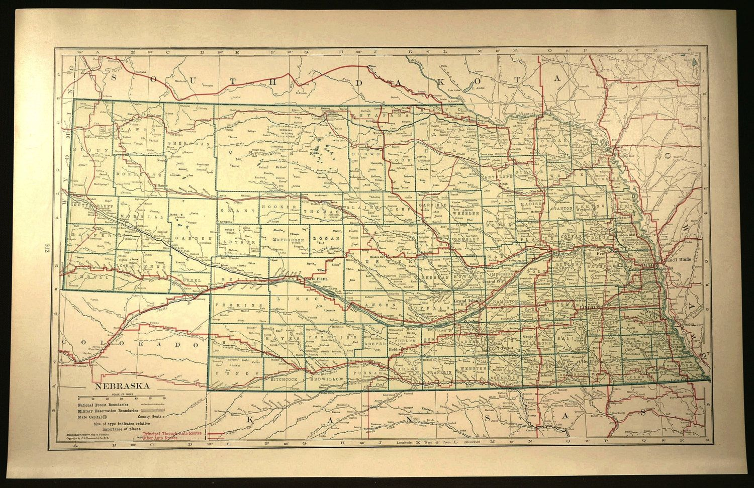 Nebraska Map LARGE Nebraska Road Map Highway Wall Art Decor | Map ...