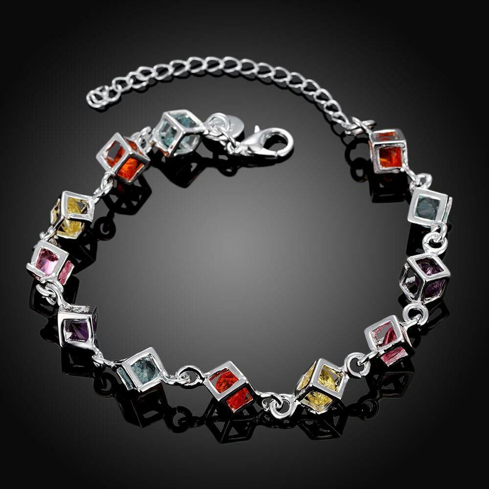 Silvertone Rainbow Colored Cube Charm Bracelet (Color: Silver