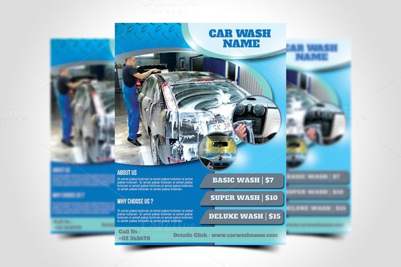 Blue Pink Car Sketch Car Wash Flyer - Templates by Canva