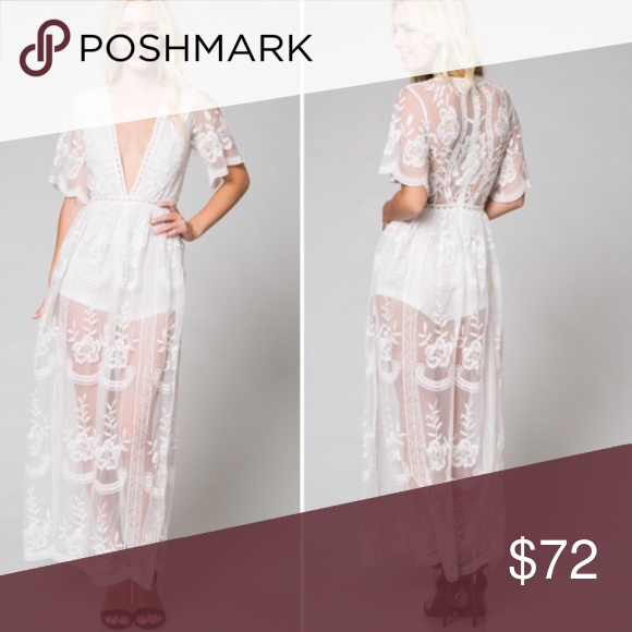 1df9d622e09 Honey punch white lace romper maxi dress Honey punch brand - price firm! We  don t offer trades Dresses Maxi