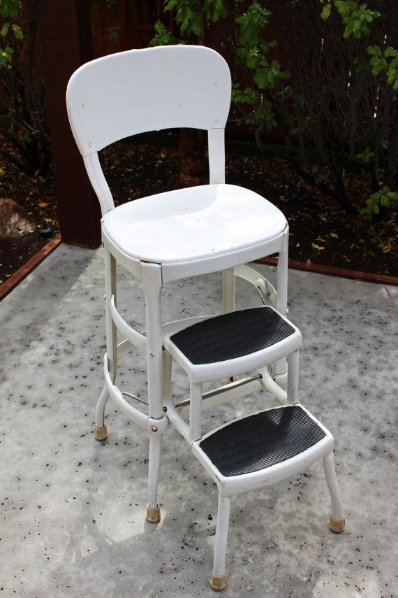 Vintage Metal Kitchen Step Stool // Pull Out Ladder by RedouxChic · Step StoolsMetal ... : retro counter chair step stool - islam-shia.org
