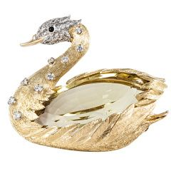 Yellow Gold Swan Pin by E. Wolfe & Co.