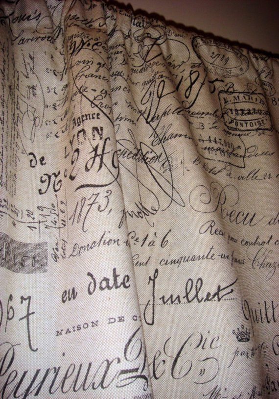 Vintage French Script Curtain Panel By Joliemarche On Etsy 100 00 French Script Curtains Panel Curtains