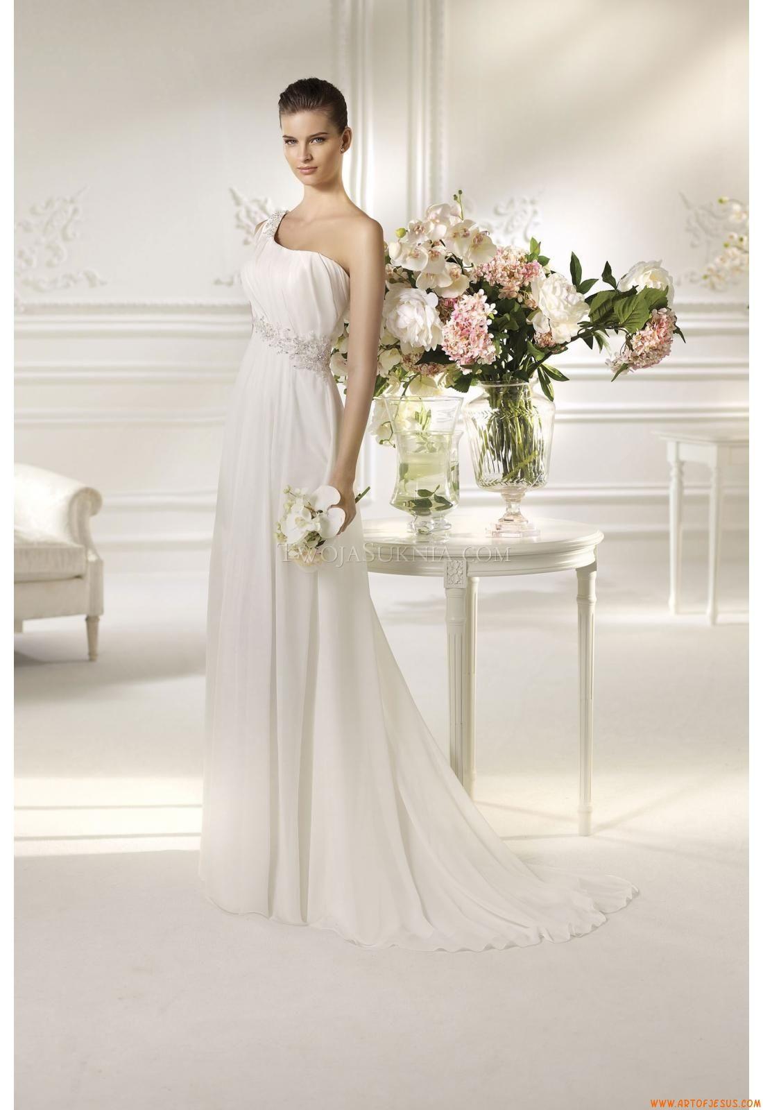 A-linie Modische Schlichte Brautkleider aus Chiffon mit Schleppe