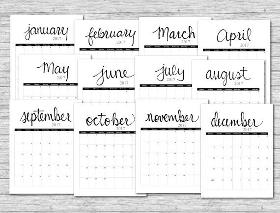 2017 calendar printable calendar black grey printable monthly calendar calendar pages portrait calendar calender instant download