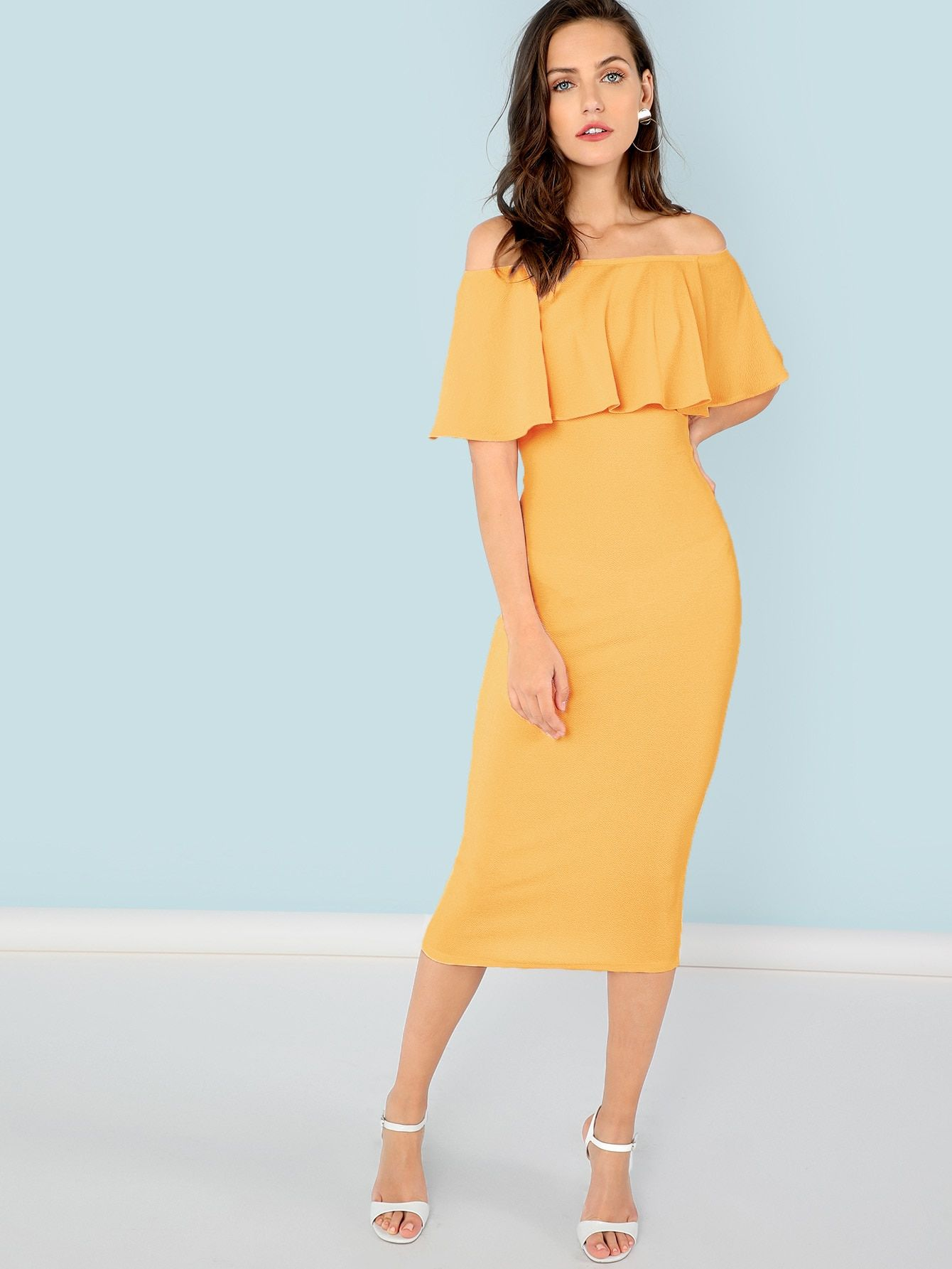 154a078a87 Women Elegant Pencil Plain Bodycon Off the Shoulder Half Sleeve Natural  Yellow Midi Length Flounce Foldover
