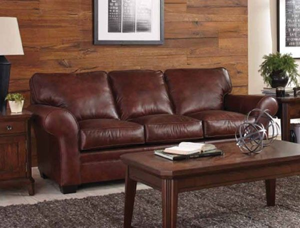 Fine Broyhill Furniture Zachary Leather Sofa In Bark L7902 3Q Cjindustries Chair Design For Home Cjindustriesco