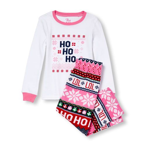 Baby Girls Unisex Baby And Toddler Long Sleeve  Ho Ho Ho  Top And Fair Isle  Print Fleece Pants Pj Set - Pink - The Children s Place 5b076ff7c