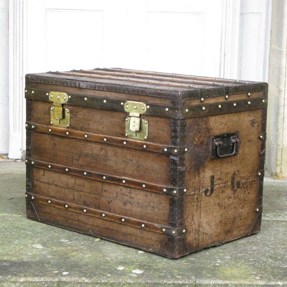A wonderful and very unusual, early Louis Vuitton antique trunk ( Vuittonitte ), created around 1860, and retaining the original label. http://www.brownrigg-interiors.co.uk/antique-recent-acquisitions/antique-leather-trunks-and-luggage/rare-louis-vuitton-vuittonite-trunk-coffee-table-c1860-33-48-refno-7623/