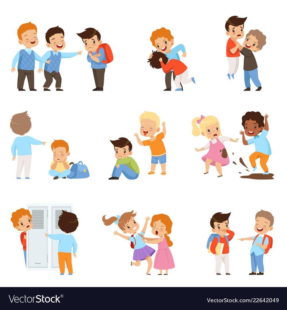 Kids Bullying The Weaks Set Boys And Girls Vector Image Child Bullying Bad Behavior Kids Bullying Posters