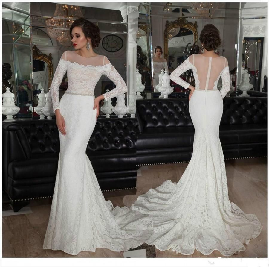 Vintage Mermaid Long Sleeves Lace Wedding Dress with Beaded Belt,Lace  Bridal Gowns 2017