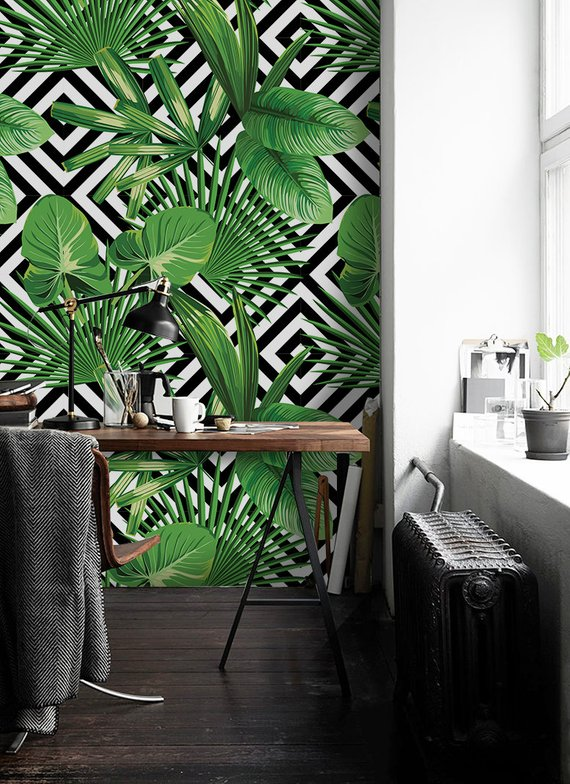 Tropical Palm Leaves Geometric Removable Wallpaper Green Black Etsy Geometric Removable Wallpaper Removable Wallpaper Bedroom Green