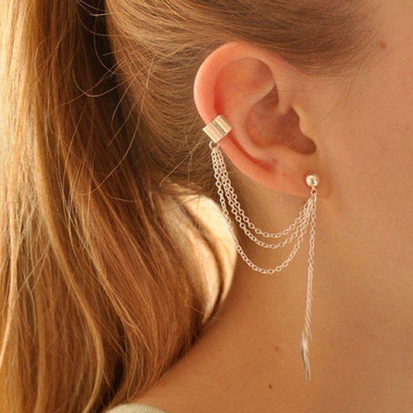 59a2eea61667a ONE PIECE Stylish Leaf Pendant Ear Cuff For Women   Fashion Jewelry ...