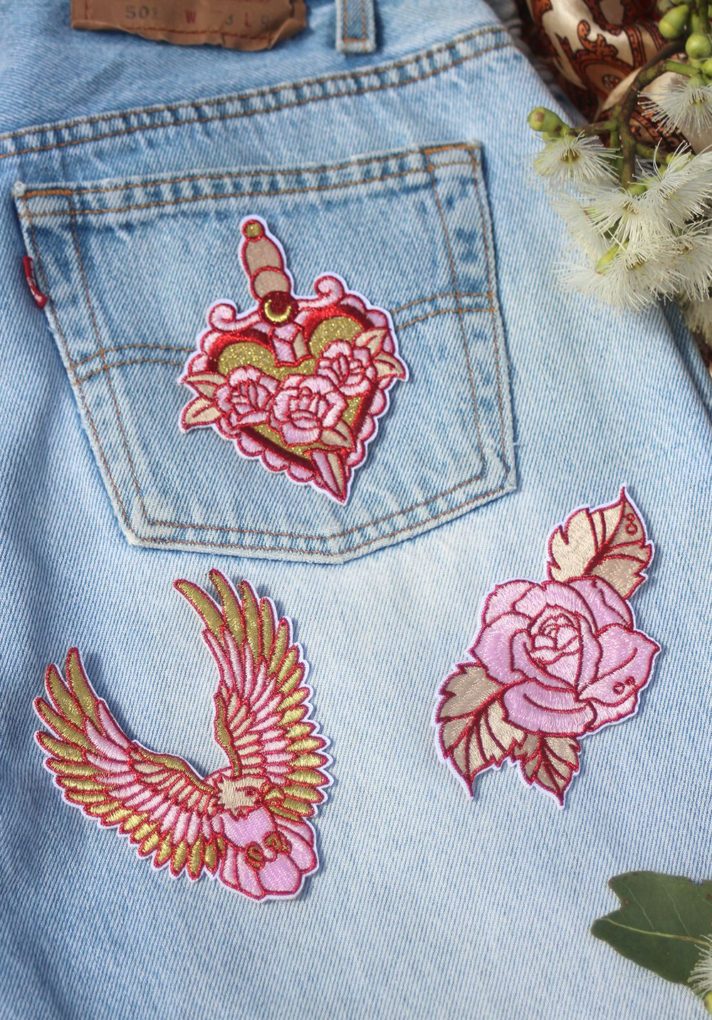 Patch set Eagle, Heart, Rose Handmade patch, Patches