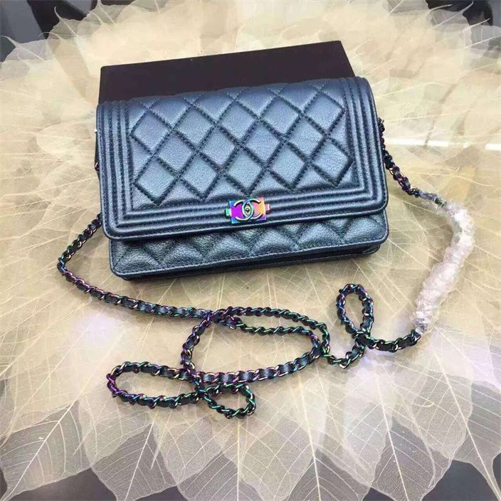 85a2a4619592 Chanel Boy Wallet On Chain WOC with Iridescent Hardware blue 2016 in price  108usd | Top