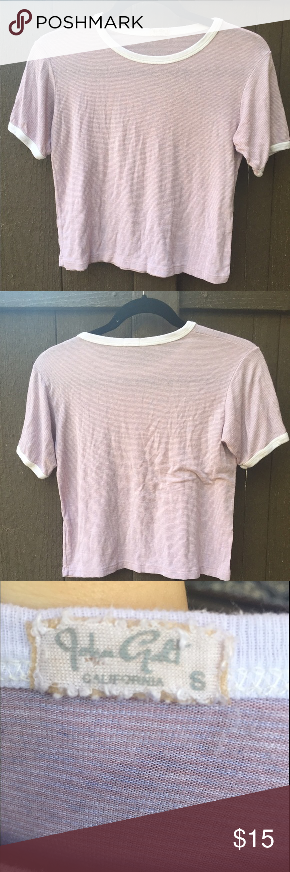 Brandy Melville Blush Striped Nadine ADORABLE white and Blush pink striped Ringer t shirt Very slight piling from being washed Fits around a small to medium If you have any questions please feel free to ask :) Brandy Melville Tops Tees - Short Sleeve