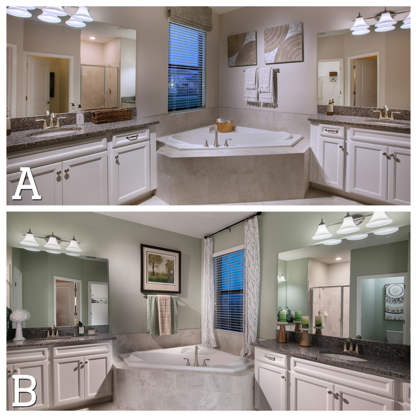 Same bathroom, different DÉCOR. Which interior design do
